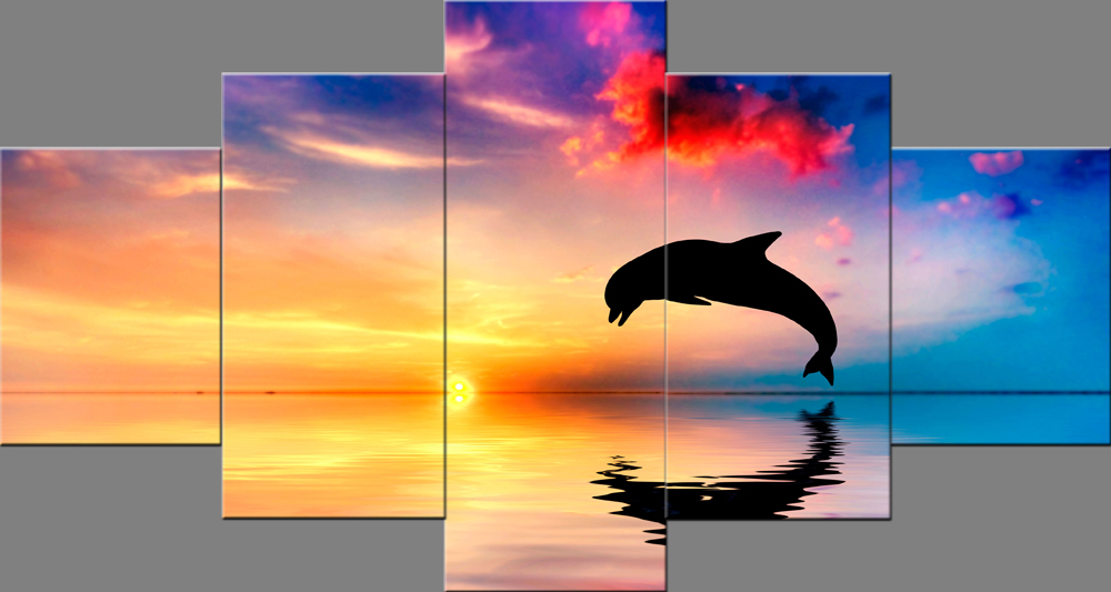 Dolphins Jumping in Sunset Landscape Paintings Wall Art Pictures Photo on Canvas Stretched and Framed Ready to Hang