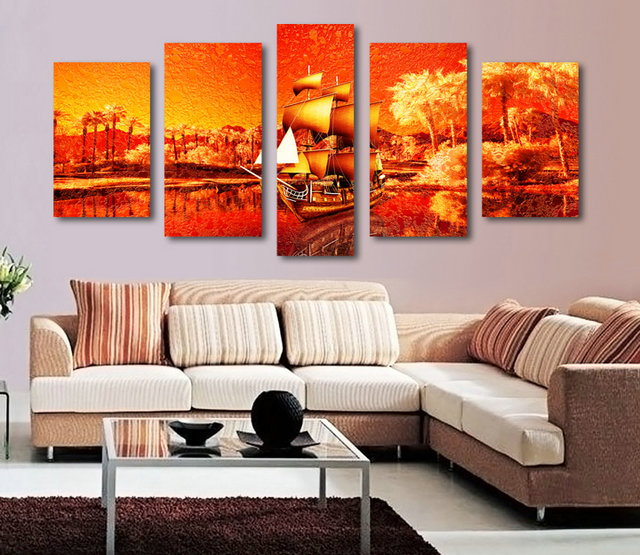 Red Sunshine on Boats-Modern Canvas Art Wall Decor-Landscape Canvas Prints Wall Art without Frame BJQ1060