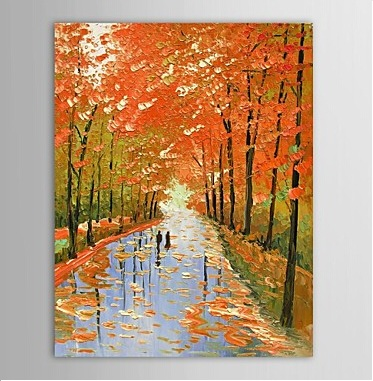 Lovers Walking Along Countryside -Modern Canvas Art Wall Decor-Landscape Oil Painting Wall Art with Stretched Frame Ready to Hang