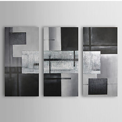 Black Gray Geometric Graphes Abstract Oil Painting Wall Art with Stretched Frame SWA29