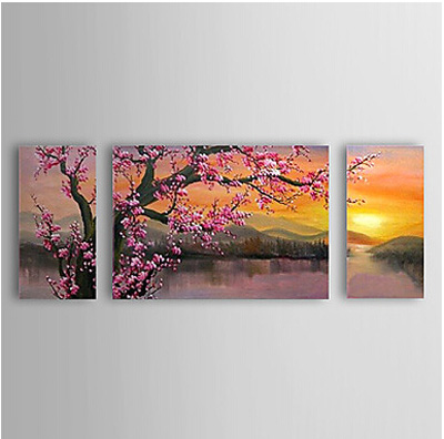 Oil Painting Floral Plum Flowers Set of 3 with Stretched on Wooden Frame Canvas Art Ready to Hang 09080-WSA015667