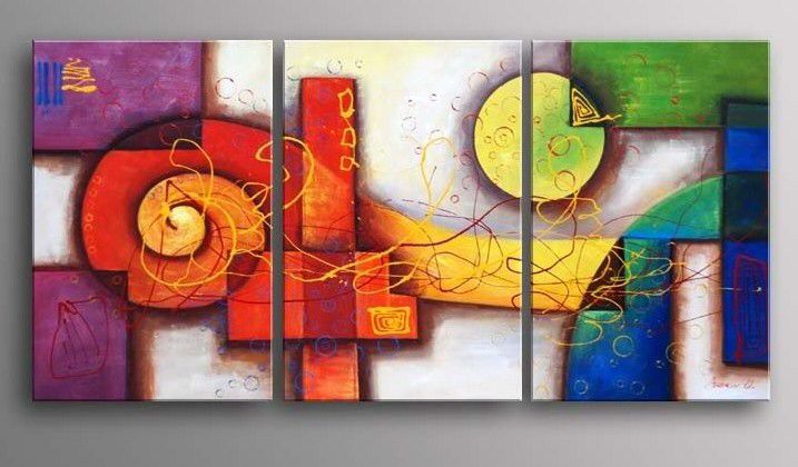 Colorful Geometric II-Modern Abstract Oil Painting Wall Art Stretched Frame Ready to Hang