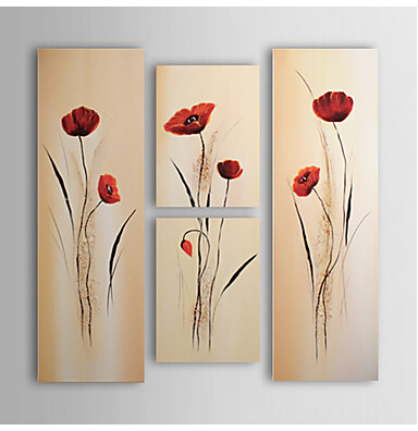 4pcs Hand-painted Floral Oil Painting Wall Art-Modern Canvas Art Wall Decor