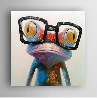 Funny Frog -Animal Oil Painting Wall Art-Modern Canvas Art Wall Decor with Stretched Frame Ready to Hang