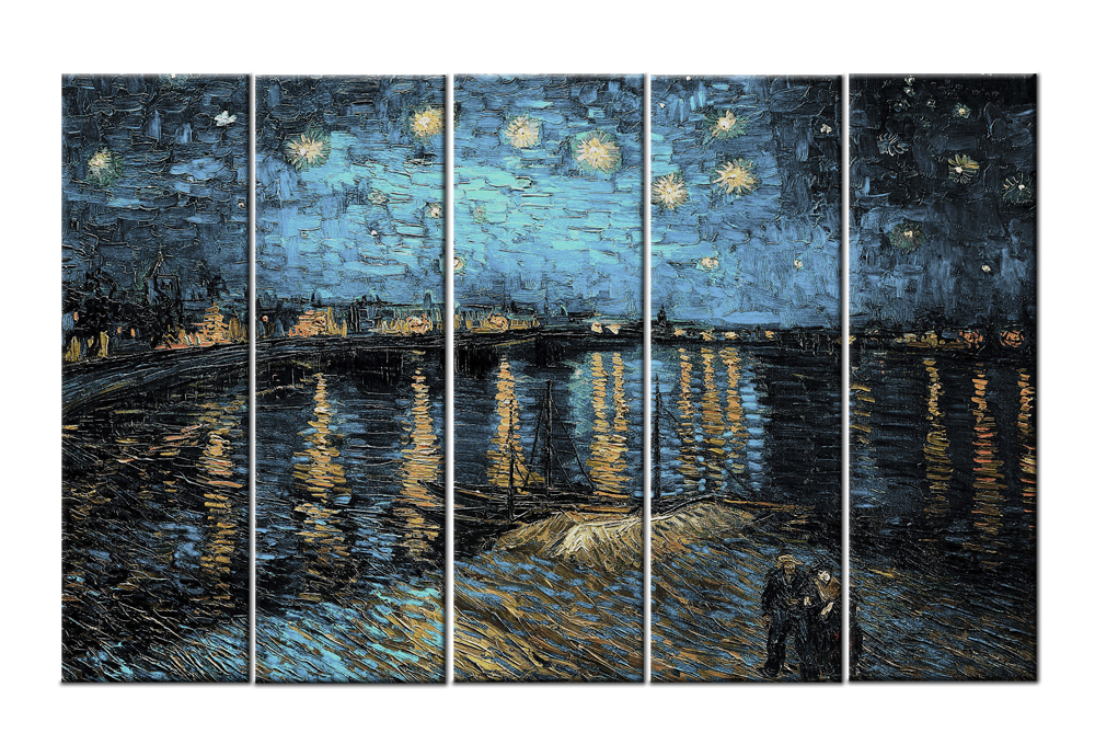Starry Night Over the Rhone by Vincent Van Gogh-Modern Canvas Art Wall Decor- Canvas Wall Art Stretched Frame