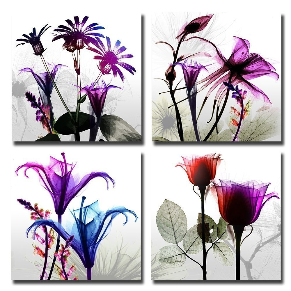 Flicking Flowers- Modern Canvas Art Wall Decor-Floral Canvas Prints Wall Art with Stretched Frame Ready to Hang