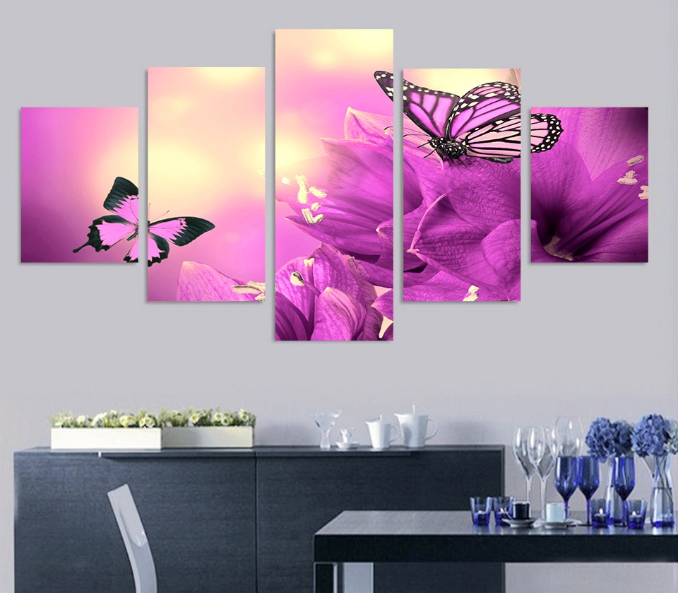 5 Piece Purple Butterfly Flowers Wall Art Canvas Pictures Photo on Canvas Stretched Framed Ready to Hang