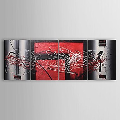 Red Reflection- Modern Abstract Oil Painting Wall Canvas Art with Stretched Frame Ready to Hang