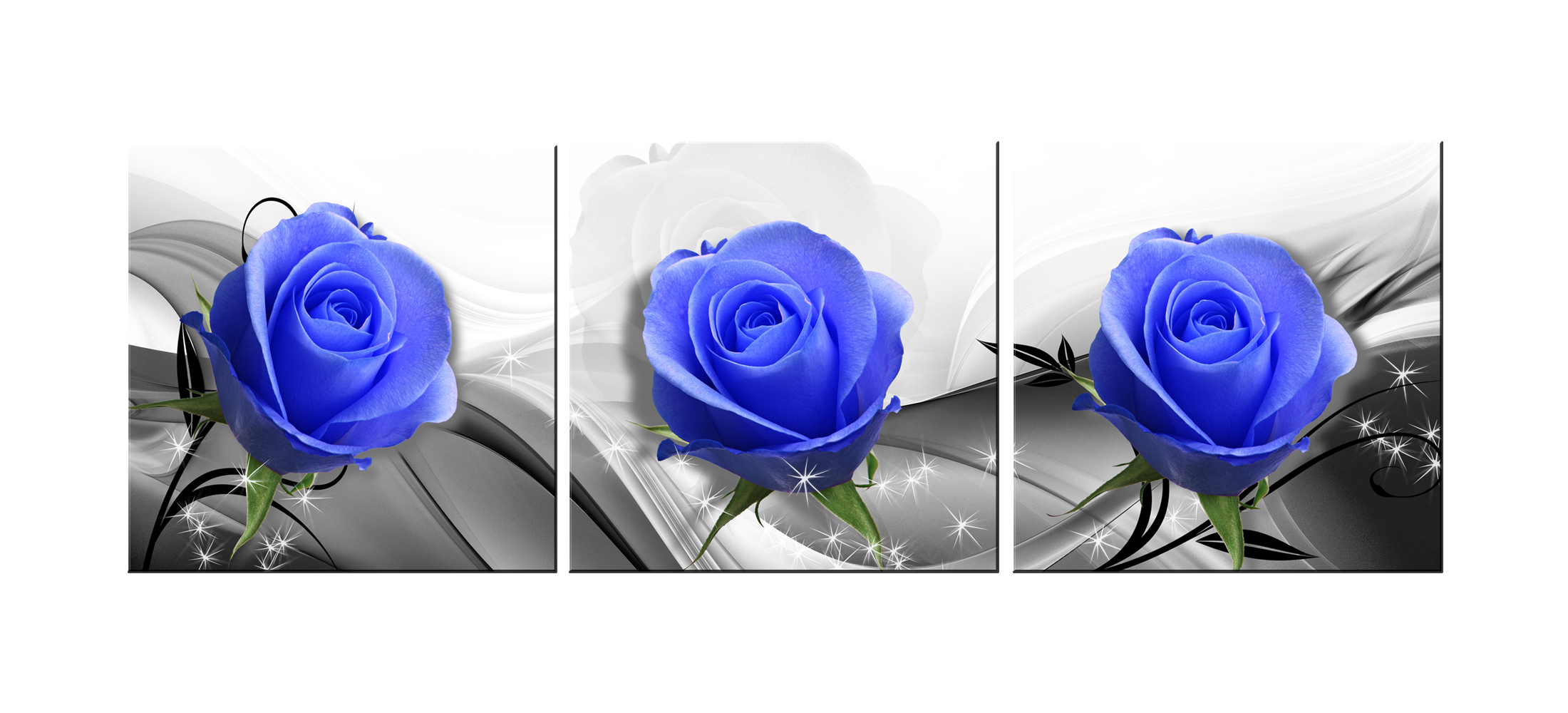 Blue ROSE -Modern Canvas Art Wall Decor-Flower Wall Art with Stretched Framed Ready to Hang