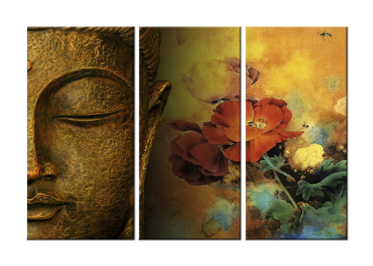 Buddha and Flowers-Modern Canvas Art Wall Decor-Religious Canvas Wall Art Stretched Framed Ready to Hang