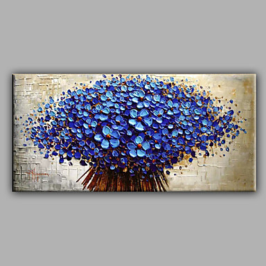 Blue Knife Flowers -Floral Oil Painting Canvas Wall Art with Stretched Frame Ready to Hang