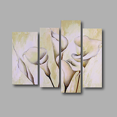 White Flowers Oil Painting Modern Canvas Wall Art with Stretched Frame Ready to Hang