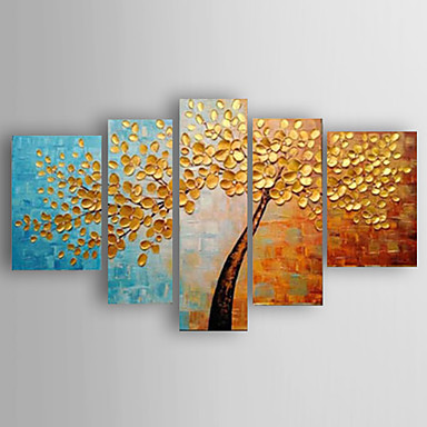 Gold Knife Flowers -Floral Oil Painting Wall Art-Modern Canvas Art Wall Decor with Stretched Frame Ready to Hang