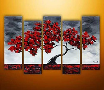 Maple Trees Swaying in the Wind Modern Landscape Oil Painting Wall Art with Stretched Frame Ready to Hang