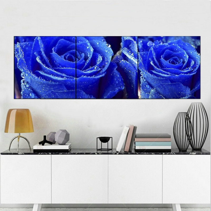 Blue Roses Flowers-Modern Canvas Art Wall Decor- Floral Wall Art with Stretched Framed Ready to Hang