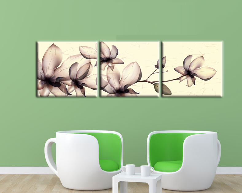 3 Piece Brown Flicking Flowers Wall Art Canvas with Stretched Frame Ready to Hang