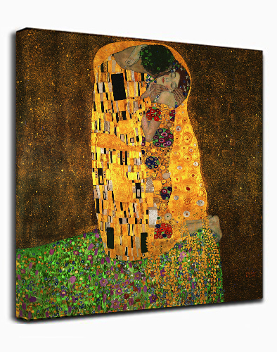 Canvas Wall Art Print Kiss by Gustav Klimt Abstract Painting Framed Ready to hang