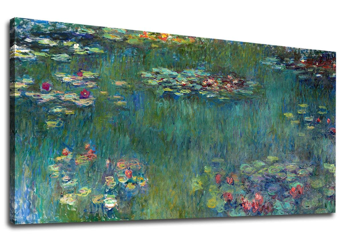 Canvas Wall Art Water Lilies by Claude Monet Canvas Painting Framed Ready to Hang
