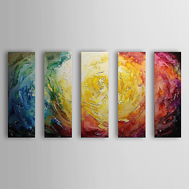 Abstract Oil Painting With Stretched Frame Set of 5 Panels Hand-Painted Canvas Wall Art SWA1989