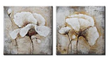 Abstract Beige Flower Oil Painting On Canvas Wall Canvas Art with Stretched over Wood Frame Ready to Hang