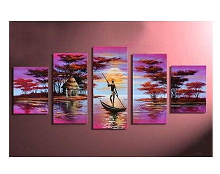 Hand Painted Wall art Home Decor Africa Lake Boat-Landscape Oil Painting Wall Art-Modern Canvas Art Wall Decor
