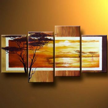 Africa In Photographic Lens Modern Landscape Oil Painting Wall Art with Stretched Frame Ready to Hang