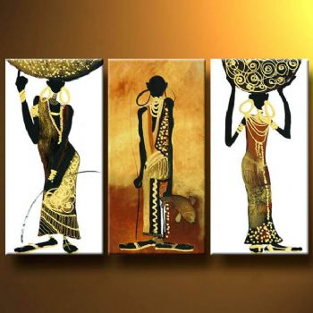 Canvas Wall Art Abstract Africa Oil Painting Modern Decor Hand Painted