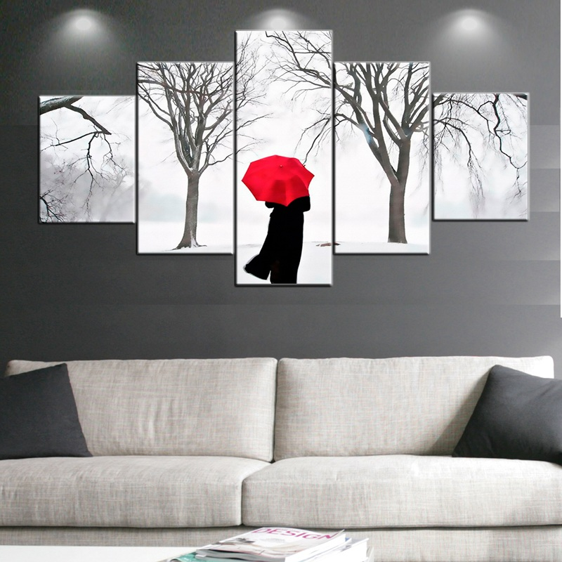 5 Panels Women Walking in Winter Trees Oil Painting Wall Art Pictures Photo on Canvas Prints Stretched and Framed Ready to Hang
