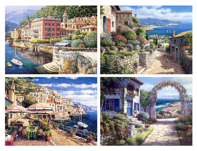 Mediterranean Sea Canvas Art Prints Set of 4 with Unframed MS031