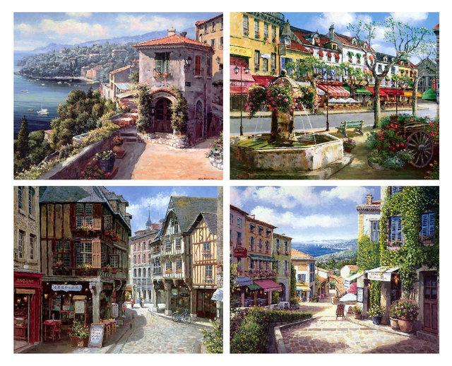 Mediterranean Sea Canvas Art Prints Set of 4 with Unframed MS033