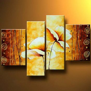 4-pcs Floral Canvas Wall Art : Cheap Oil Paintings|Paintings for ...