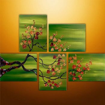 Asian Summer II-Modern Canvas Art Wall Decor-Floral Oil Painting Wall Art with Stretched Frame Ready to hang