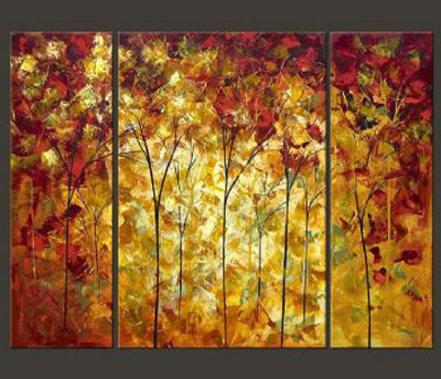 Autumn-Modern Canvas Art Wall Decor-Landscape Oil Painting Wall Art with Stretched Over Wood Frame
