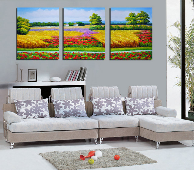 The Flowerbeds -Modern Canvas Art Wall Decor-Floral Canvas Prints Wall Art without Frame BJQ0301