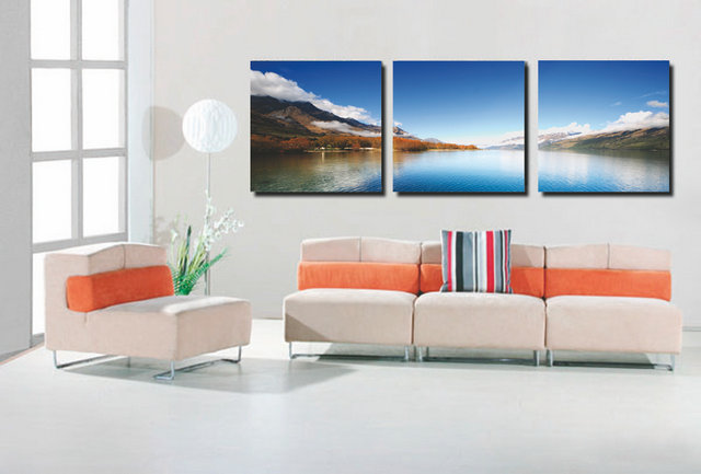 Blue Lake Modern Canvas Art Wall Decor Landscape Canvas Prints Wall