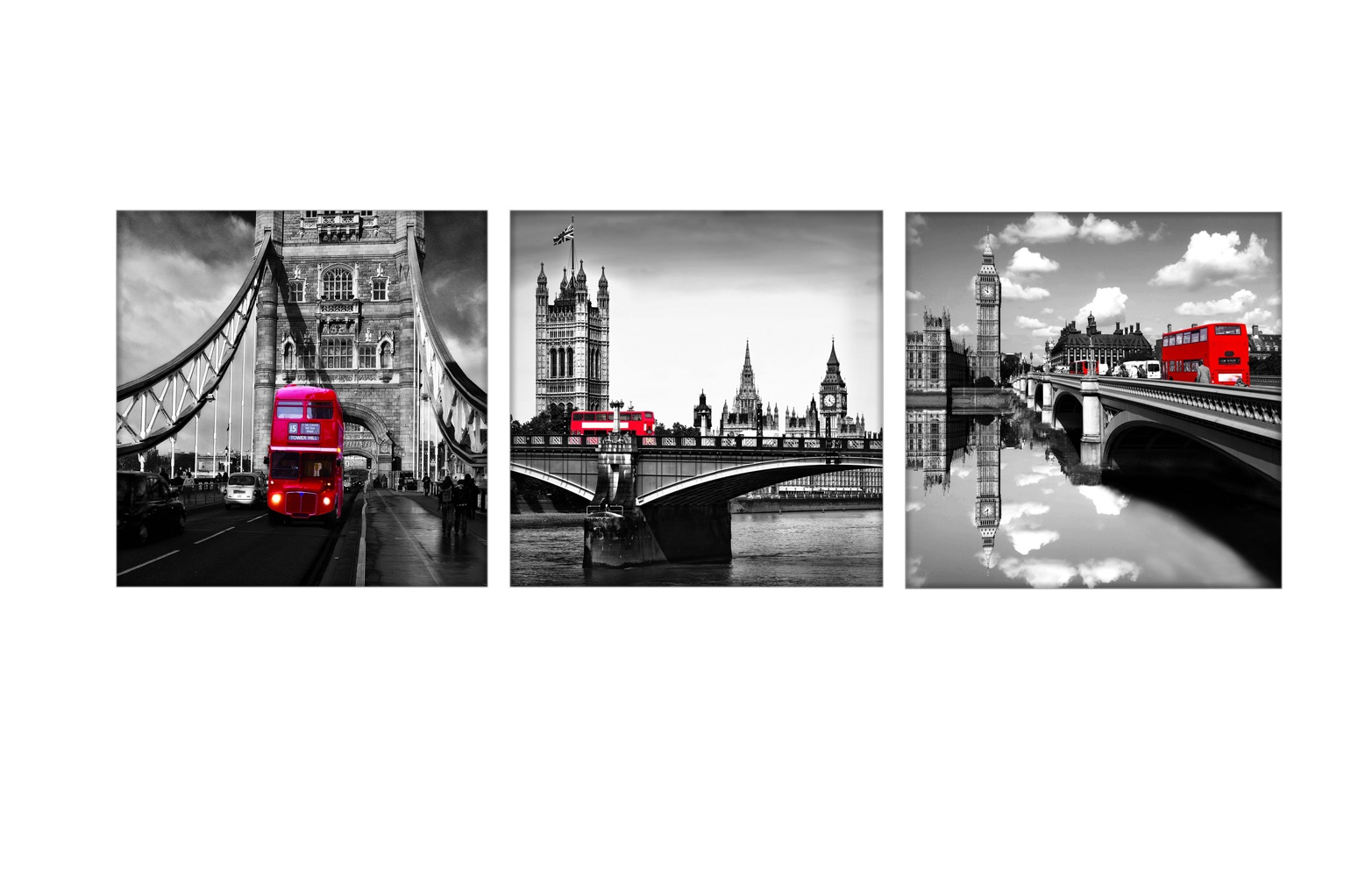 3 Piece Black White London Bridge Red Bus Painting Canvas Wall Art with Stretched Frame Ready to hang