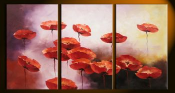 Beautiful Poppies-Modern Canvas Art Wall Decor-Floral Oil Painting Wall Art with Stretched Frame Ready to Hang