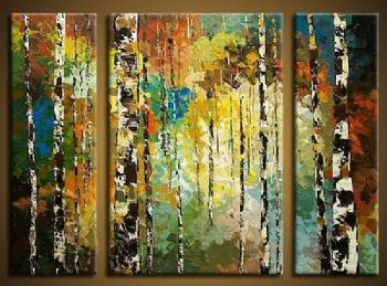 Birch In The Sunset II-Modern Canvas Art Landscape Oil Painting Wall Art with Stretched Frame Ready to Hang