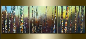 Birch In Winter-Modern Canvas Art Wall Decor-Landscape Oil Painting Wall Art with Stretched Frame Ready to Hang