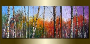 Birchwoods In Autumn-Modern Canvas Art Wall Decor-Landscape Oil Painting Wall Art with Stretched Frame Ready to hang