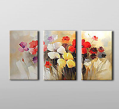 Blooming Flowers-Floral Oil Painting Wall Art-Modern Canvas Art Wall Decor with Stretched Frame Ready to Hang