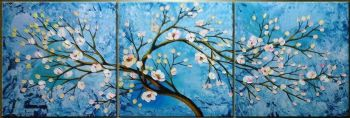 Blooming Cherry Tree II-Modern Canvas Art Wall Decor-Floral Oil Painting Wall Art with Stretched Frame Ready to Hang
