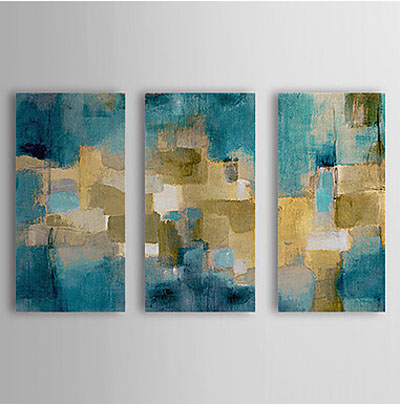 Blue Sky-Modern Abstract Oil Painting Wall Art with Stretched over Wood Frame