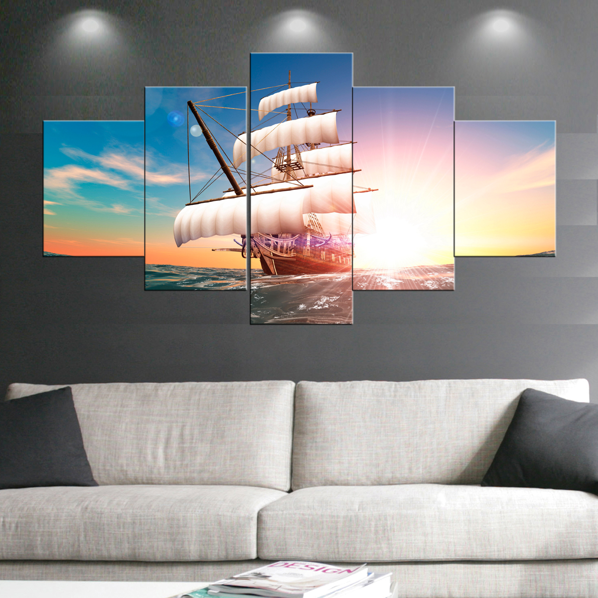 Boat Sail Paintings Wall Art Giclee Canvas Prints Landscape Pictures Paintings on Canvas Stretched and Framed Ready to Hang