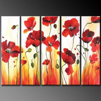 Bouquet Of Poppies-Modern Canvas Art Wall Decor-Floral Oil Painting Wall Art with Stretched Frame Ready to Hang