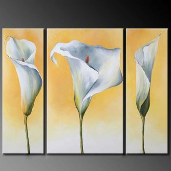 Bright Callas-Modern Canvas Art Wall Decor-Floral Oil Painting Wall Art with Stretched Frame Ready to Hang
