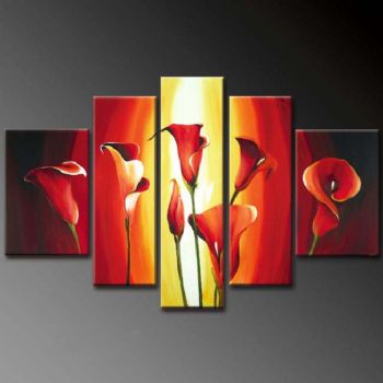 Calla Flames-Modern Canvas Art Wall Decor-Floral Oil Painting Wall Art with Stretched Frame Ready to Hang