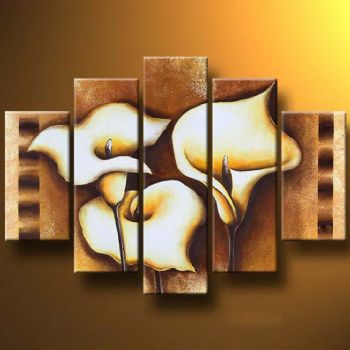 Callas In Brown-Modern Canvas Art Wall Decor-Floral Oil Painting Wall Art with Stretched Frame Ready to Hang