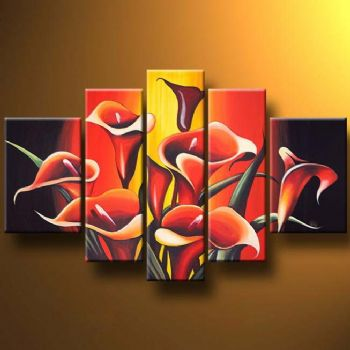 Callas In Company-Modern Canvas Art Wall Decor-Floral Oil Painting Wall Art with Stretched Frame Ready to Hang