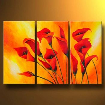 Callas in orange modern canvas art wall decor floral oil painting wall art with
